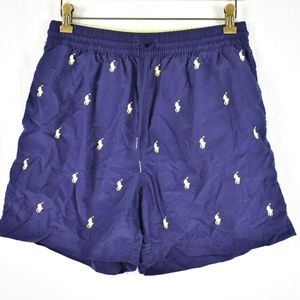 Vtg Ralph Lauren Polo All Over Logo Trunks sz L